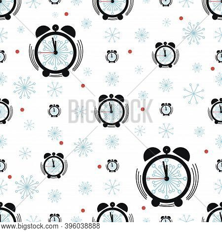 Alarm Clock, Snowflake. Vector Background. Clock Face Pattern With Snowflakes On White Background.