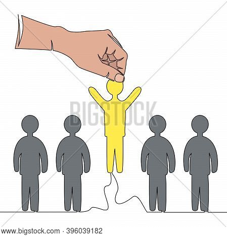 Flat Colorful Continuous Drawing Line Art Person Is Selected From A Group Employment Icon Vector Ill