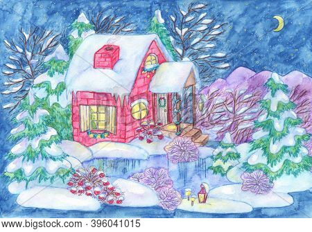 Christmas And New Year Greeting Card With Cute Vintage Cottage House With Lights, Lake, Conifer, Tre