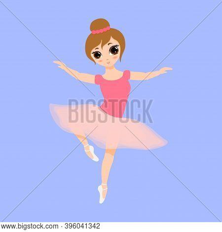 Cute Small Ballerina Dancing. Ballerina Girl In Pink Tutu Dress. Beautiful Kid Flat Cartoon Vector I