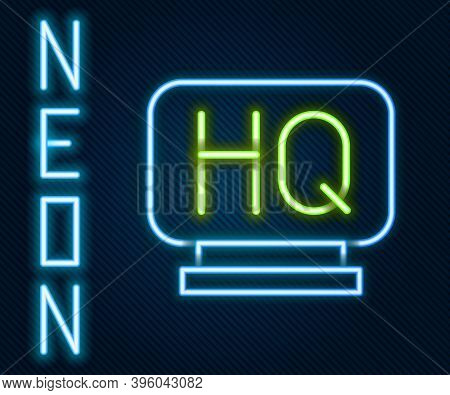 Glowing Neon Line Military Headquarters Icon Isolated On Black Background. Colorful Outline Concept.