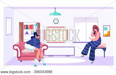 Women Are Spending Time Together In Their Apartment. Young Girls Are Bored Sitting On Sofas. Female
