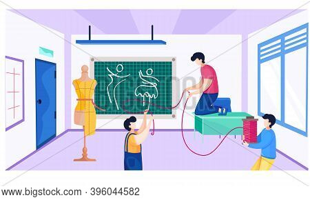 The Guys Show The Structure Of The Thread In A Materials Science Class At A Seamstress School. A Man