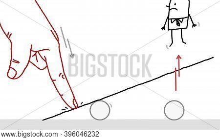 Hand Drawn Big Human Finger Pushing On A Teeter Board, And Bumping Off A Cartoon Man