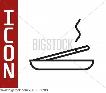 Black Line Scented Spa Stick On A Wooden Stand Icon Isolated On White Background. Incense Stick. Cos