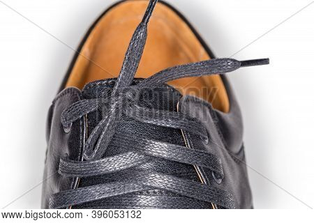 Shoe Lacing Traditional Criss Cross Method With Flat Shoelace Tied With Simple Bow, Fragment Of The