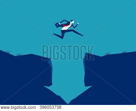 Businessman Jumping Crossing A Cliff With Downward Arrow Shaped