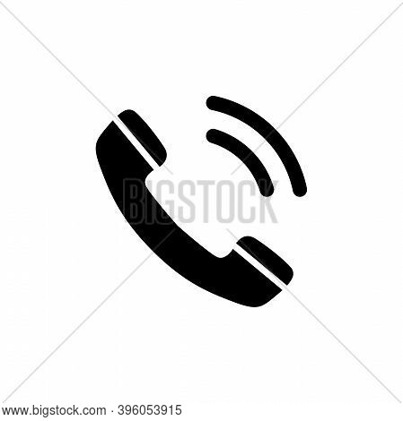 Telephone Receiver Call, Phone Handset. Flat Vector Icon Illustration. Simple Black Symbol On White