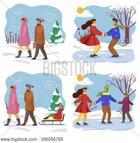 Winter Time, Collection Of Illustrations, Young Couple Walking, Happy Girl And Guy Skating At Ice Ho