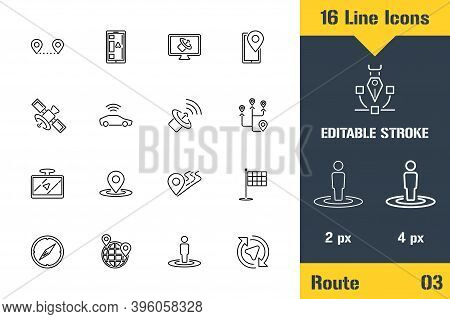 Route Location, Gps, Navigation. Thin Line Icon - Outline Flat Vector Illustration. Editable Stroke