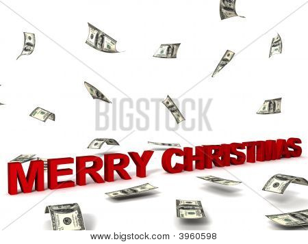 three dimensional merry christmas text and dollars poster
