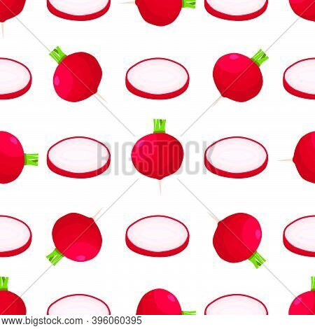 Illustration On Theme Of Bright Pattern Red Radish, Vegetable Root For Seal. Vegetable Pattern Consi