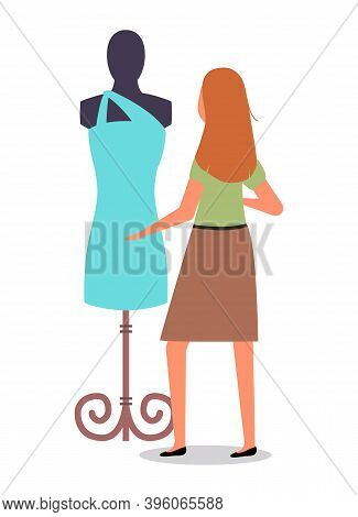 Female Character Is Buying Clothes At Store. Woman Is Looking At Mannequin Ahd Touching Clothing. Th
