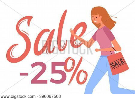 Woman With Shopping Bag Goes After Purchases. Young Beautiful Fashion Shopper Girl Isolated On White