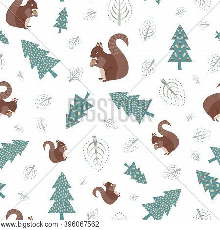 Cute Squirrel In Forest Vector Seamless Pattern Background. Scattered Folk Art Woodland Animals, Aco