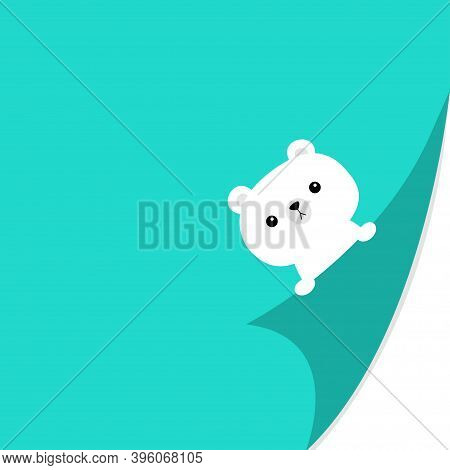 Curled Paper Corner. White Bear Face Holding Fold Page Corners. Paw Print. Cute Cartoon Kawaii Funny