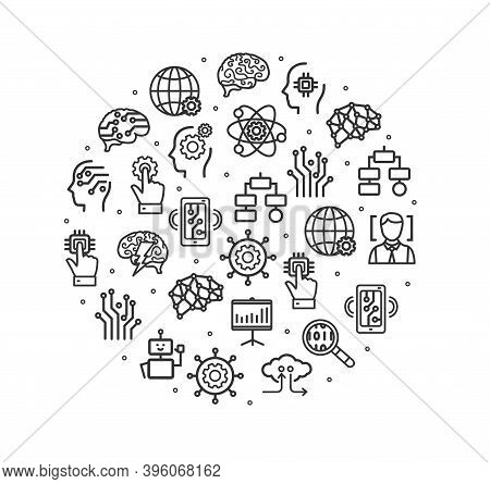 Ai Sign Black Thin Line Icon Round Design Template Include Of Circuit, Cyborg And Microchip. Vector