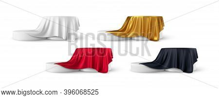 Set Of Realistic 3d Round Product Podium Display Covered With Fabric Drapery Folds Isolated On White