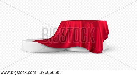 Realistic 3d Round White Product Podium Display Covered Red Fabric Drapery Folds Isolated On White B
