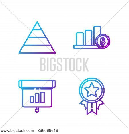 Set Line Medal With Star, Graph, Chart, Diagram, Infographic, Pyramid Chart Infographics And Pie Cha