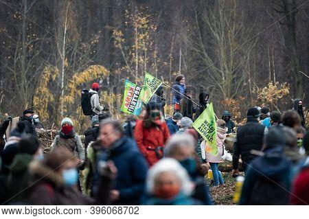 22 November 2020, Demonstrators And Policemen Stand In The Dannenröder Forst. For Weeks, Activists H