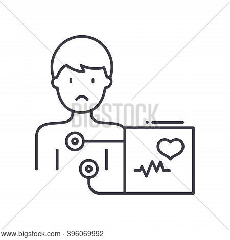 Electrocardiogram Icon, Linear Isolated Illustration, Thin Line Vector, Web Design Sign, Outline Con