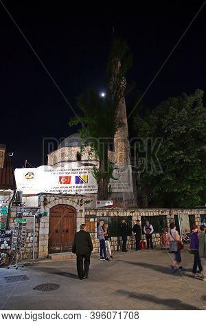 Sarajevo, Bosnia And Herzegovina - 27 Apr 2018: Night In Sarajevo City, Bosnia And Herzegovina