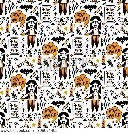 Seamless Pattern With Witch Vampire With Potion And Dry Twig, In Striped Pants And Shirt. Inscriptio
