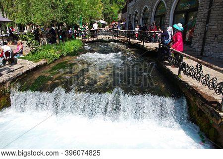 Travnik, Bosnia And Herzegovina - 28 Apr 2018: The River In Travnik, Bosnia And Herzegovina