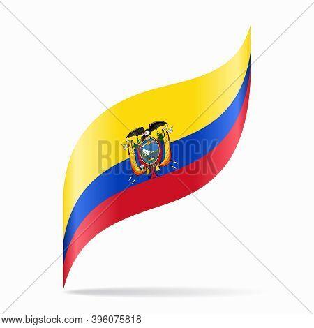Ecuadorian Flag Wavy Abstract Background. Vector Illustration.
