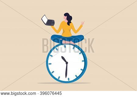 Flexible Working Hours, Work Life Balance Or Focus And Time Management While Working From Home Conce