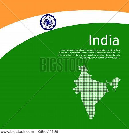 Abstract Waving Flag And Mosaic Map Of India. Creative Background For India Patriotic Holiday Card D