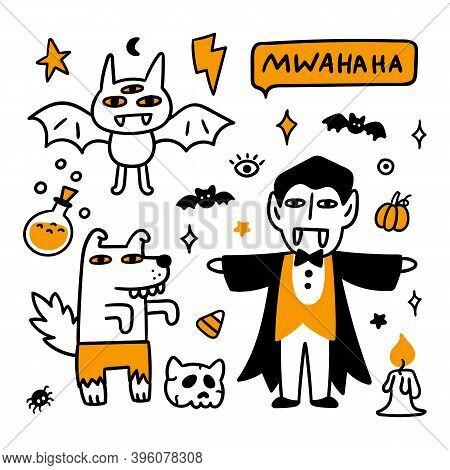 Spooky Cartoon Characters: Vampire, Werewolf And Three-eyed Bat. Beautiful Print For Halloween. Grap