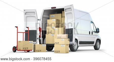 Delivery van with open doors and hand truck with cardboard boxes isolated on white background. Delivery and shipping concept. 3d illustration