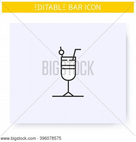 Cocktail Glass Line Icon. Alcohol Stemware. Party Drink. Restaurant, Bar Menu. Summer Long Drink. Co