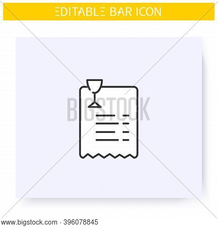 Bar Bill Line Icon. Paper Shop Receipt. Alcohol Store. Payment. Restaurant, Pub, Bar Bill. Cocktail