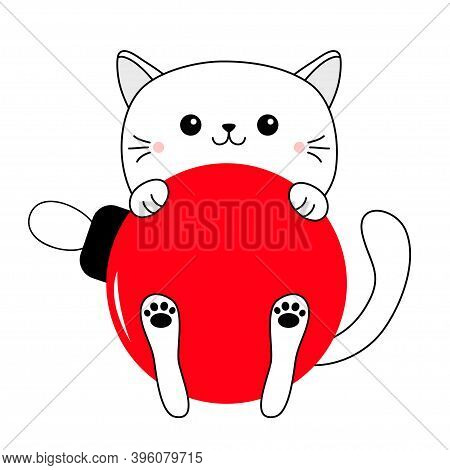 Cat Holding Big Red Merry Christmas Ball. Cute Cartoon Funny Baby Character. Funny Kawaii Doodle Con