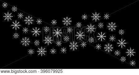 Snowflake Icon Set. White Wave Snowflakes Line Banner. Merry Christmas. Happy New Year Decoration Si