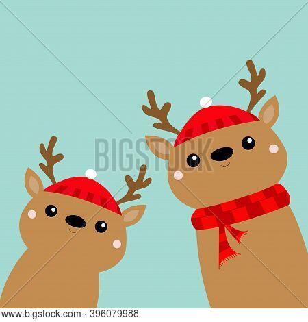 Two Reindeer Deer Head Face Icon Set. Cute Cartoon Kawaii Baby Character. Red Hat, Scarf, Nose, Horn