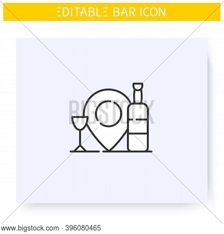 Bar Location Line Icon. Map Pointer. Bar Navigation Pinpoint. Geolocation. Cocktail Party And Drinki