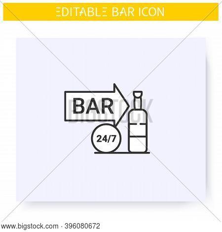 Night Bar Line Icon. Around The Clock. Bright Neon Signboard. Advertisement, Pointer. Night Billboar