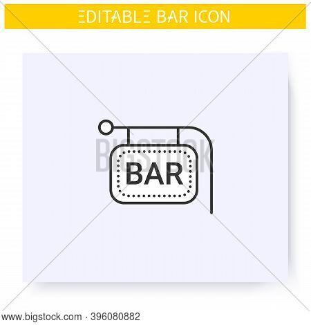 Bar Sign Line Icon. Bright Neon Signboard. Advertisement, Pointer. Night Luminous Billboard. Cocktai