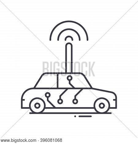 Driverless Car Icon, Linear Isolated Illustration, Thin Line Vector, Web Design Sign, Outline Concep