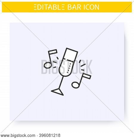 Bar Party Line Icon. Celebration, Event, Alcohol Party. Champagne Glass. Restaurant, Night Club Musi