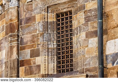 Ancient Window Of The Outside Wall Of The Building Of The Basilica Di Santa Maria Maggiore (saint Ma