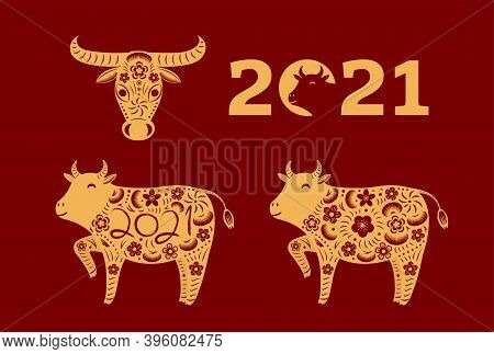 2021 Chinese New Year Elements Collection, Ox Silhouette, Paper Cut Style, Isolated Gold On Red. Han