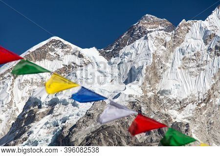 View Of Mount Everest And Nuptse With Buddhist Prayer Flags From Kala Patthar, Way To Everest Base C