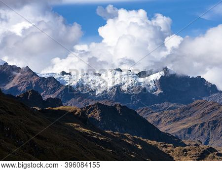 Glacial Mountain View From Choquequirao Trekking Trail, Cuzco Area, Machu Picchu Area, Peruvian Ande