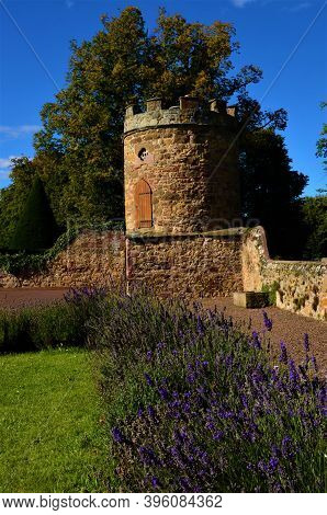 An Exterior View Of A Medieval Old Stone Turret Building In The Town Of Haddington In Scotland