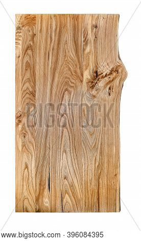Live Edge Elm Countertop On White Background. Front View Elm Slab Texture
